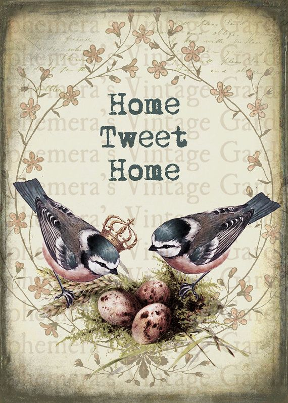 Printable Wall Art Home Tweet Home Chickadees by EphemerasGarden,.00