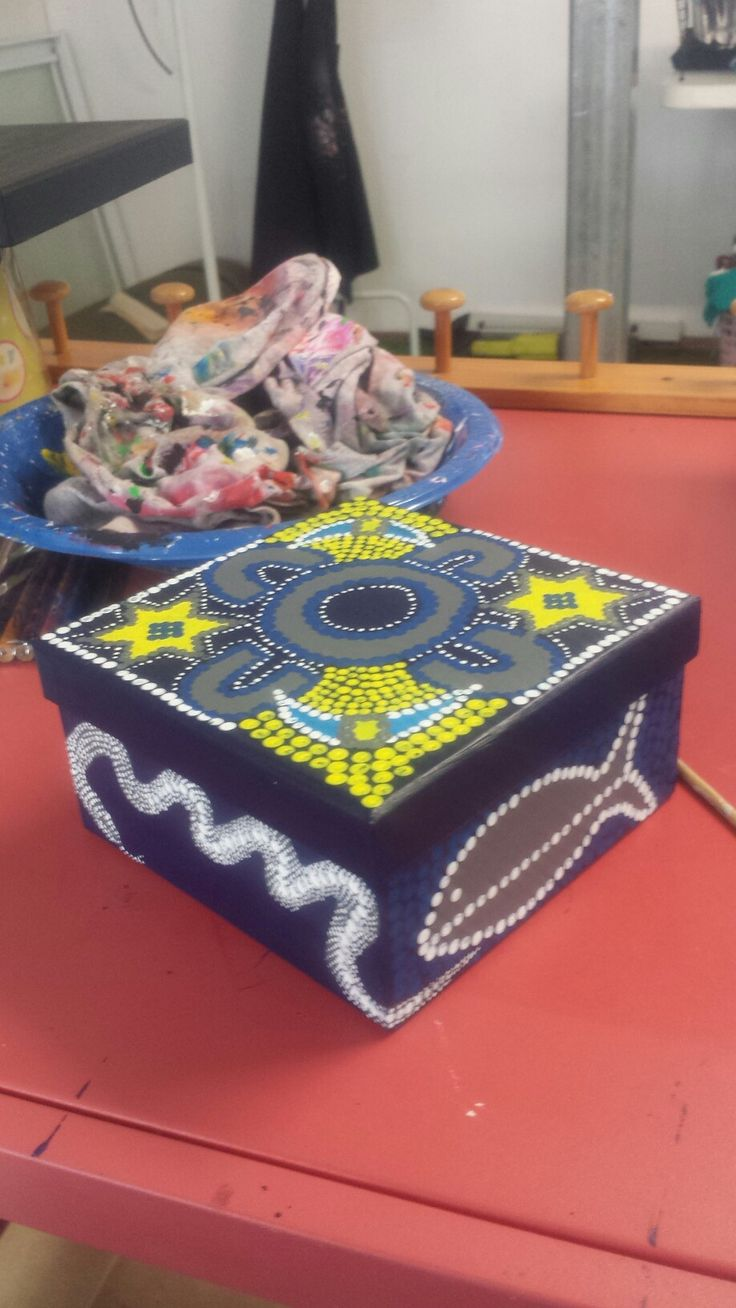 COWBOYS NRL gift box painted by Sharon