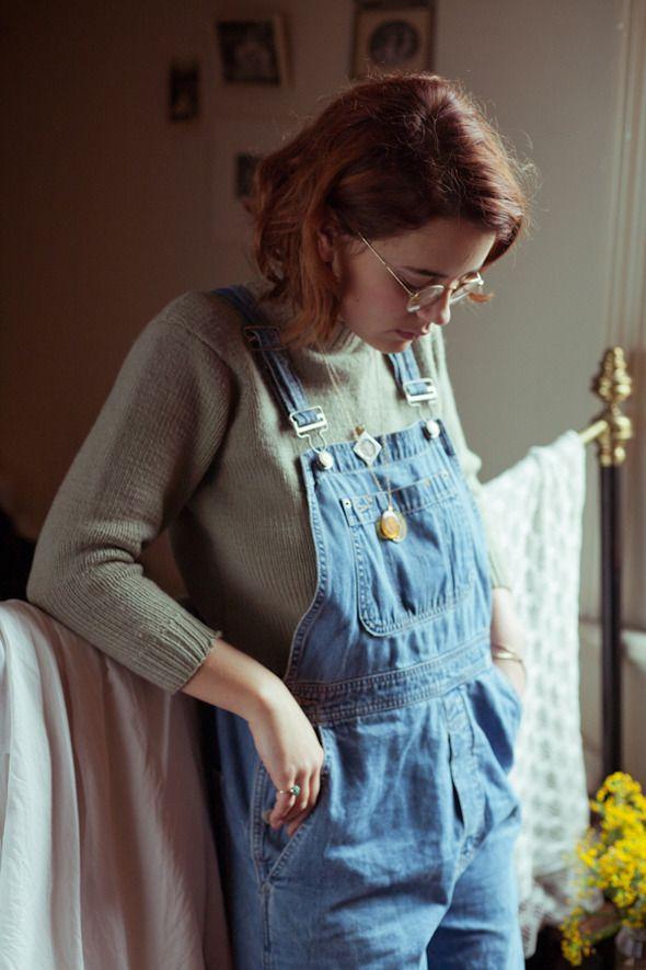 H&M - Denim Bib Overalls - Dark denim blue - Ladies