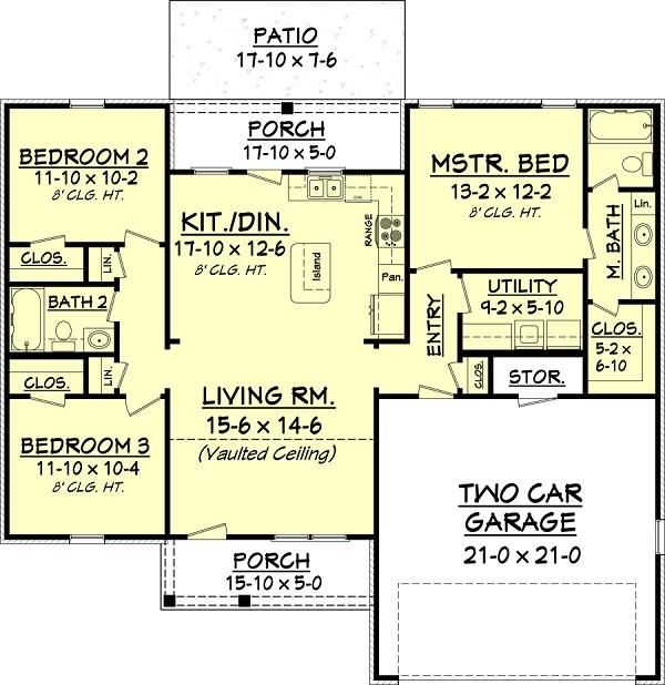 3 bedroom 2 bath 1300 square foot one story house widen for How to add square feet