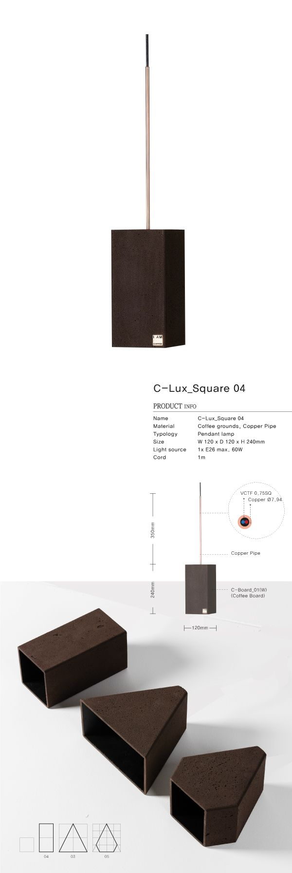 Coffee grounds upcycle product / This C-Lux_Square_04 is made locally using recycled 60 cups coffee grounds / Pendant lamp
