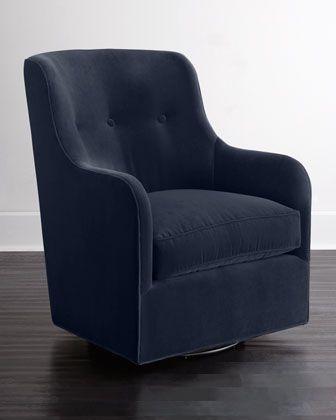 Cali St. Clair Navy Velvet Swivel Chair at Neiman Marcus.