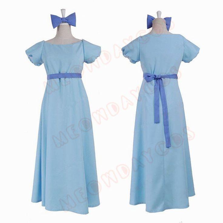 Peter Pan Wendy Costume Cosplay Dress Blue NightGown Party Long Lolita Dress #Handmade #Dress