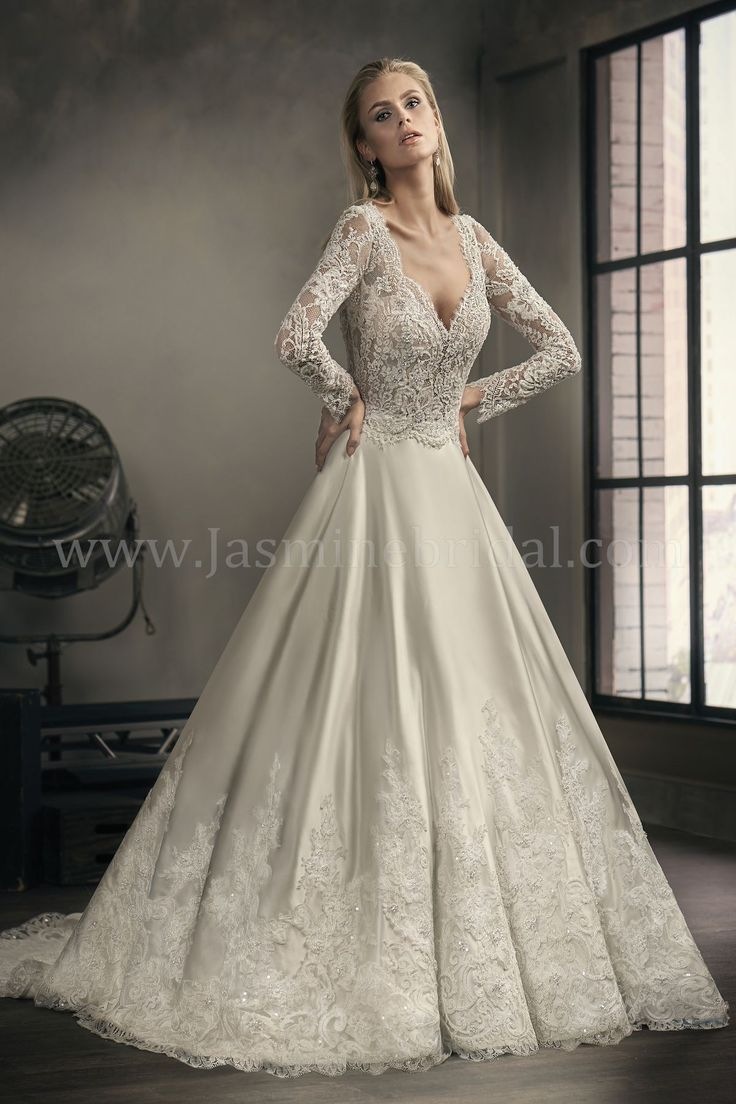 Jasmine Bridal | Couture Style T192060 in Ivory/Vintage | Chantilly Lace, Silky Satin | Bridal Ball Gown | Beading | V-Neck | Long Sleeves | Pockets
