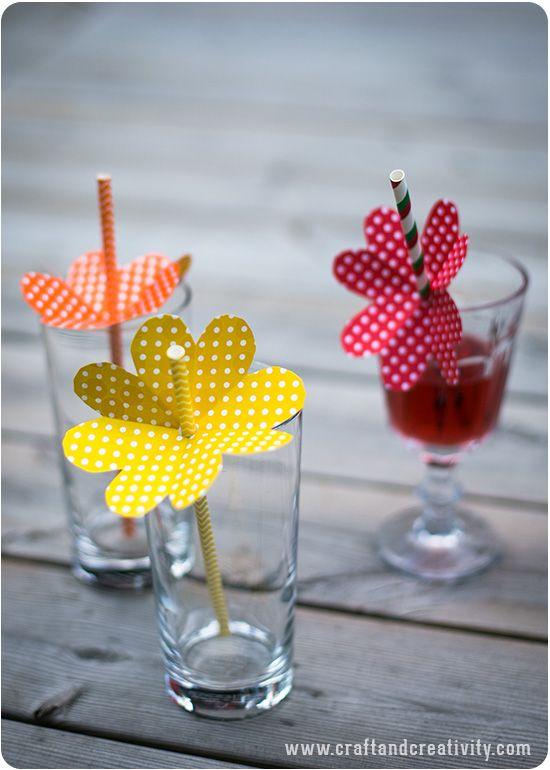 """Foto """"pinnata"""" dalla nostra lettrice Carla, blogger di Craft Patisserie Sweet Floral Straws - by Craft & Creativity semplice, bello."""