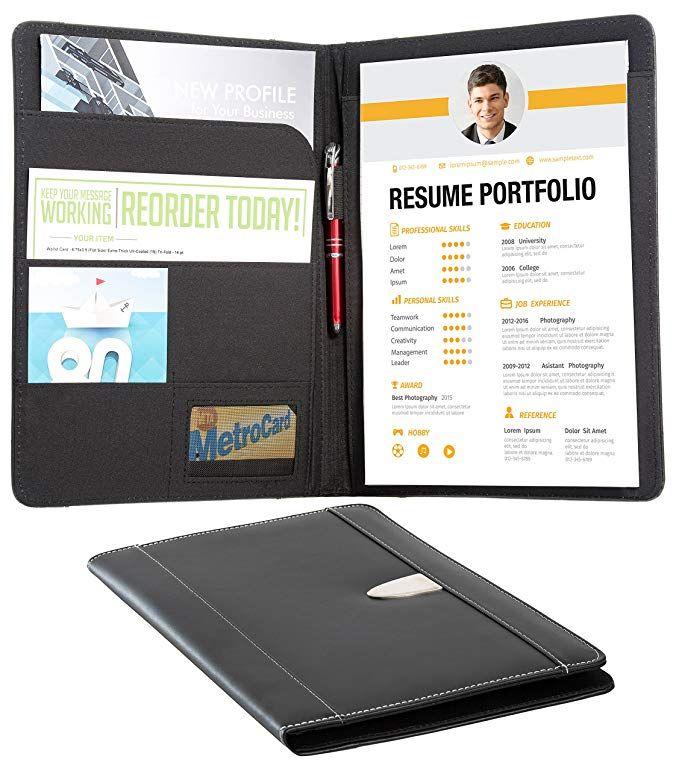 Resume Portfolio Padfolio Genuine Bonded Leather Portfolio With Replaceable A4 Letter Size Writing Pad Document Leather Portfolio Card Holder Document Holder