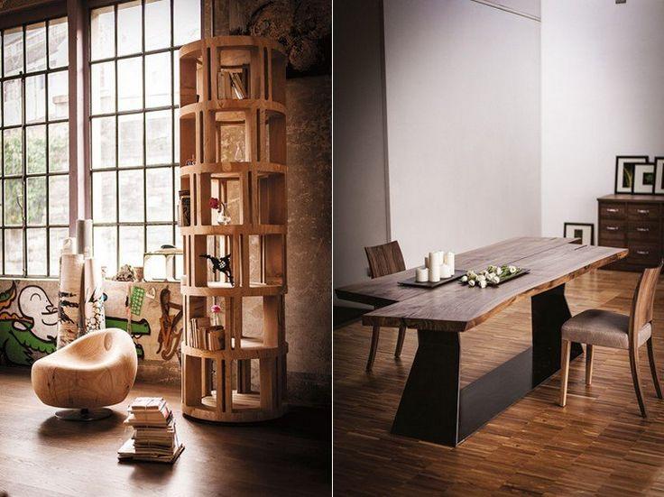 Kollektion von Riva 1920 - Sessel, Bücherregal und Esstisch aus Massivholz