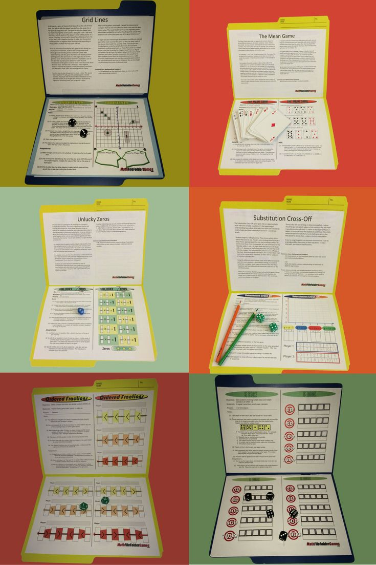 42 printable math games for upper elementary and middles school students, easy-to-setup for any math class