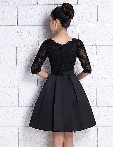 Diz-uzunluğunda Dantel / Saten A-line Scoop Nedime Elbisesi Siyah 2016 – $62.99