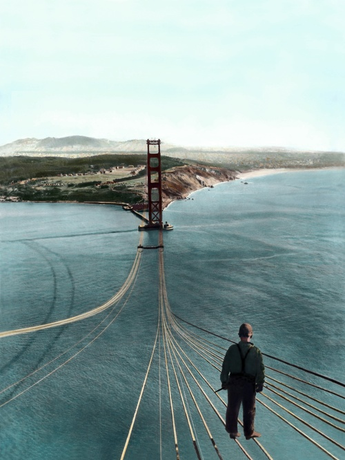 Amazing... standing on the San Francisco side of the Golden Gate Bridge (bulding in progress) looking out at the Marin Headlands, California.