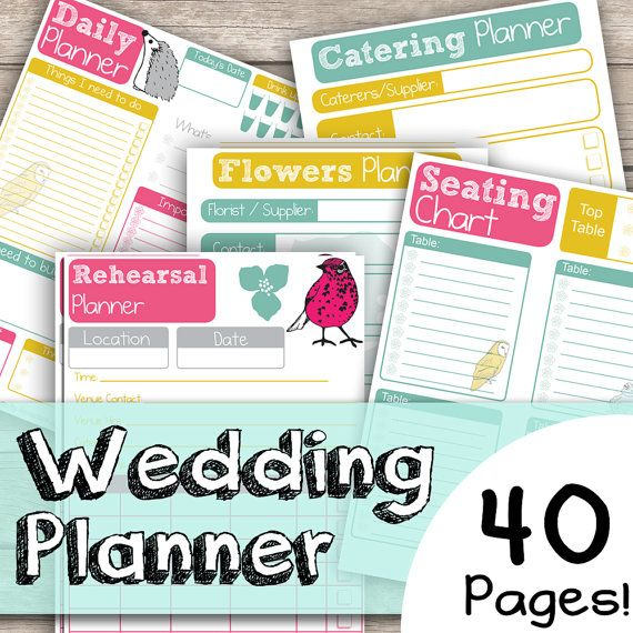 Wedding Planner 40 Page Bundle - Cute Hand Drawn Animal Illustrated - 40 Documents - Instant Download pdf on Etsy, $21.60