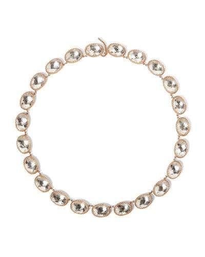P8451 Larkspur & Hawk Lily 18K Rose Gold-Washed Button Rivière Necklace, White