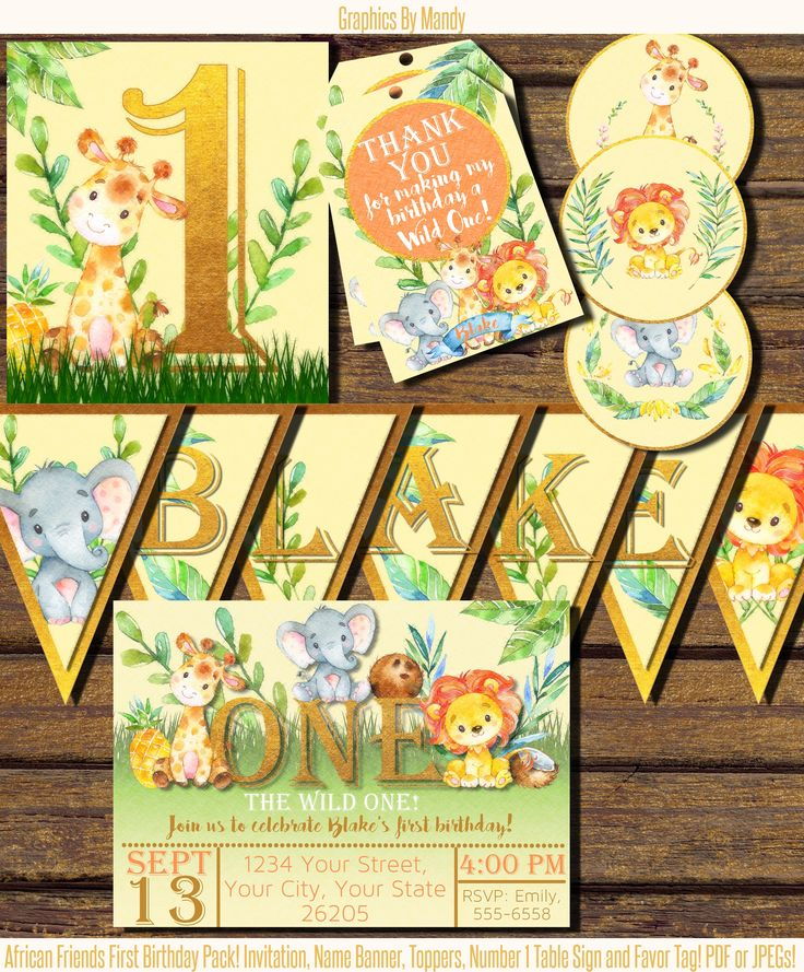 invitation words forst birthday party%0A African Friends  Zoo Animals First Birthday Party Pack  Digital PDF