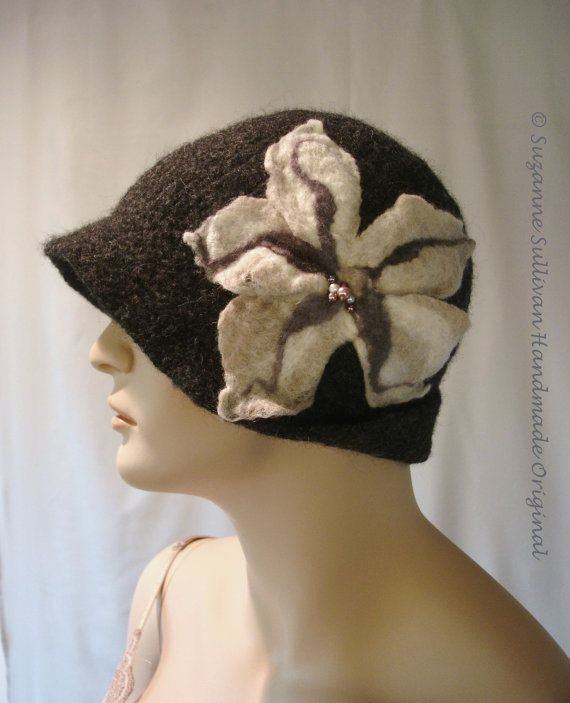 Womans Felt Hat Felted Hat Hand Knit Felted Hat by SuzanneSullivan