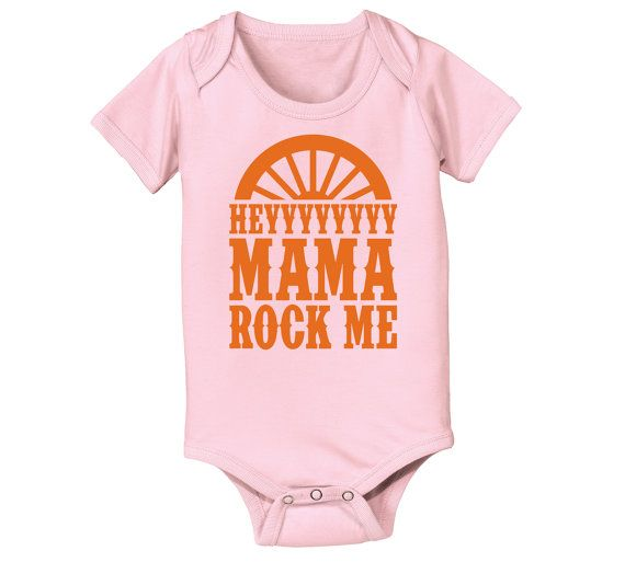 Hey Mama Rock Me Novelty Music Wagon Wheel Darius Country Baby One Piece E4105
