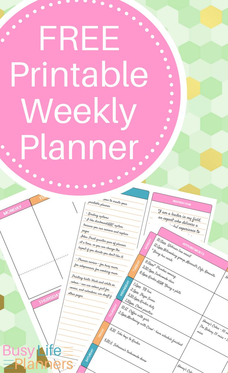 Free printable weekly planner pages - bright pretty colors, 4 layouts included. Space for appointments, to dos, menu planning and more. By Busy Life Planners