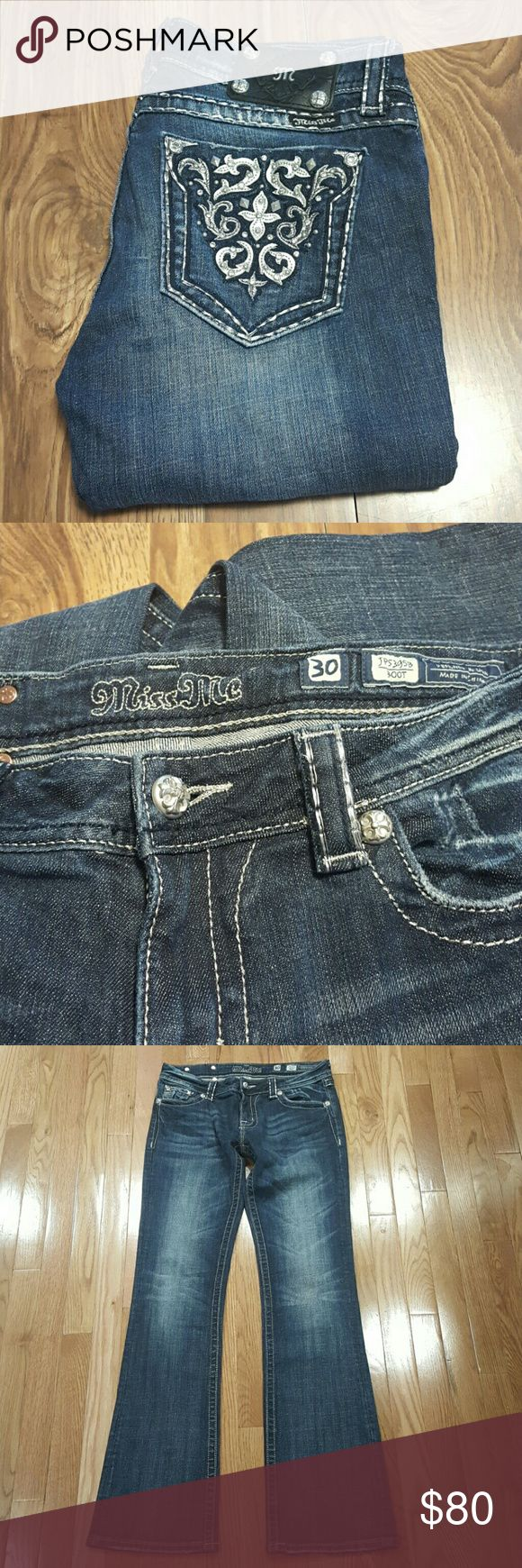 Miss Me denim >>PRICE IS FIRM-NO OFFERS ACCEPTED<<SELLING FOR FRIEND>>  Medium wash, inseam 34 inches, waist 30 inches, bootcut style, lightly distressed on left front pocket, and area between hip and back pockets.  EUC, no stains or tears, comes from smoke/pet free home and washed in perfume/dye free detergent. Miss Me Jeans Boot Cut