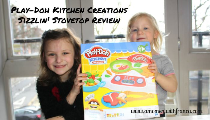 Play-Doh Kitchen Creations Sizzlin' Stovetop Review http://www.amomentwithfranca.com/play-doh-kitchen-creations-sizzlin-stovetop-review