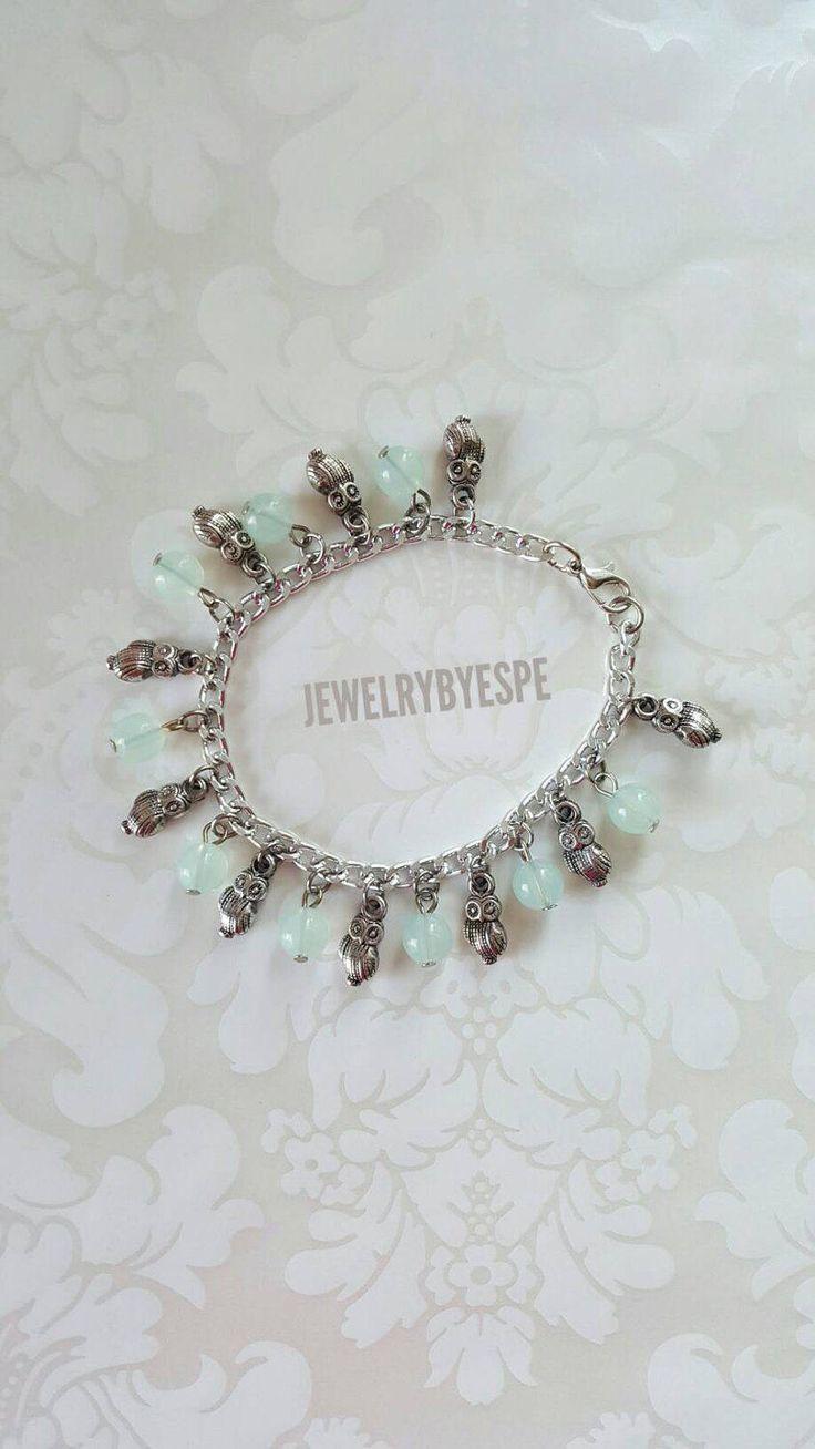 Opal Mint Bracelet, Owl Bracelet, Charm Bracelet, Boho Bracelet, Statement  Bracelet, Silver Bracelet, Bohemian, Tribal, Retro, Animal Charms