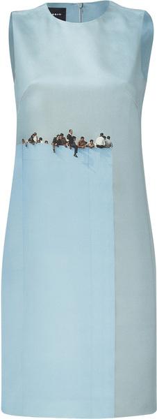 AKRIS Sky Viewpoint Print Silk Dress - Lyst