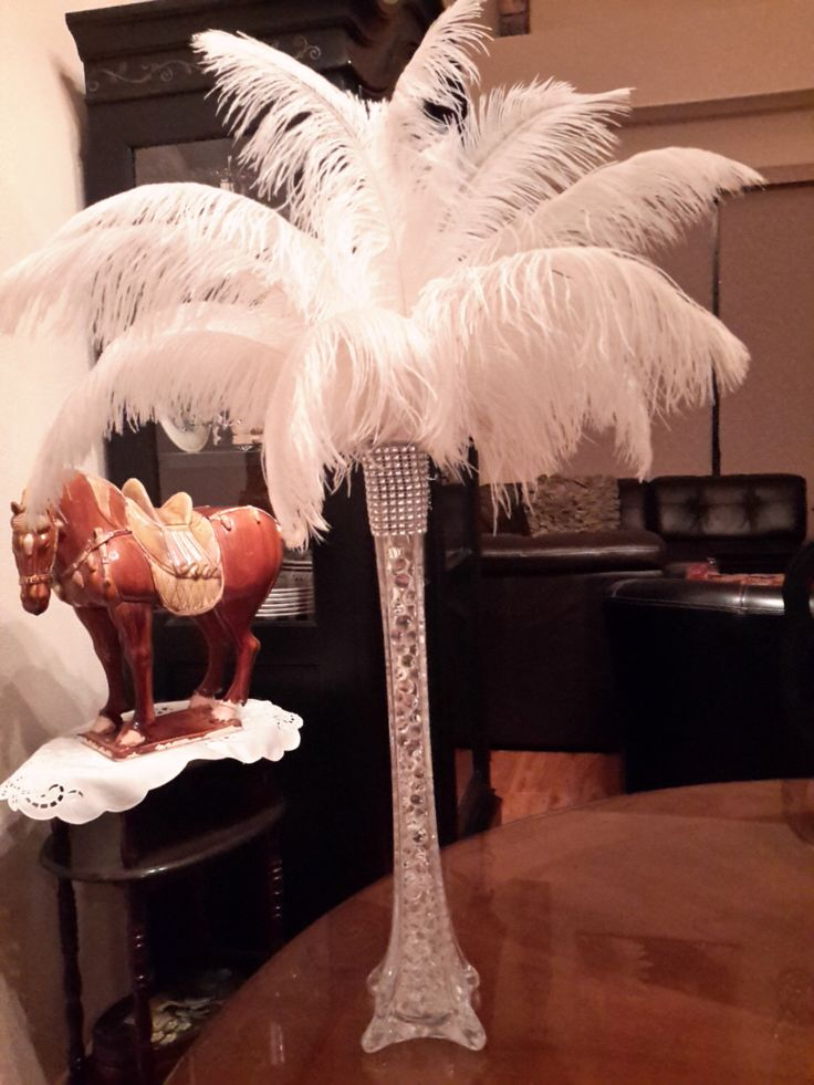 "Ostrich Feather Centerpiece with 16"" Eiffel Tower Vase by ChantillysBoutique on…"