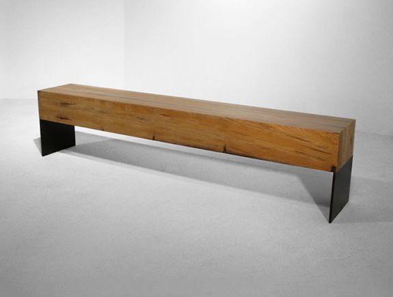 HOLLY HUNT //. Slab wood and steel plate bench.