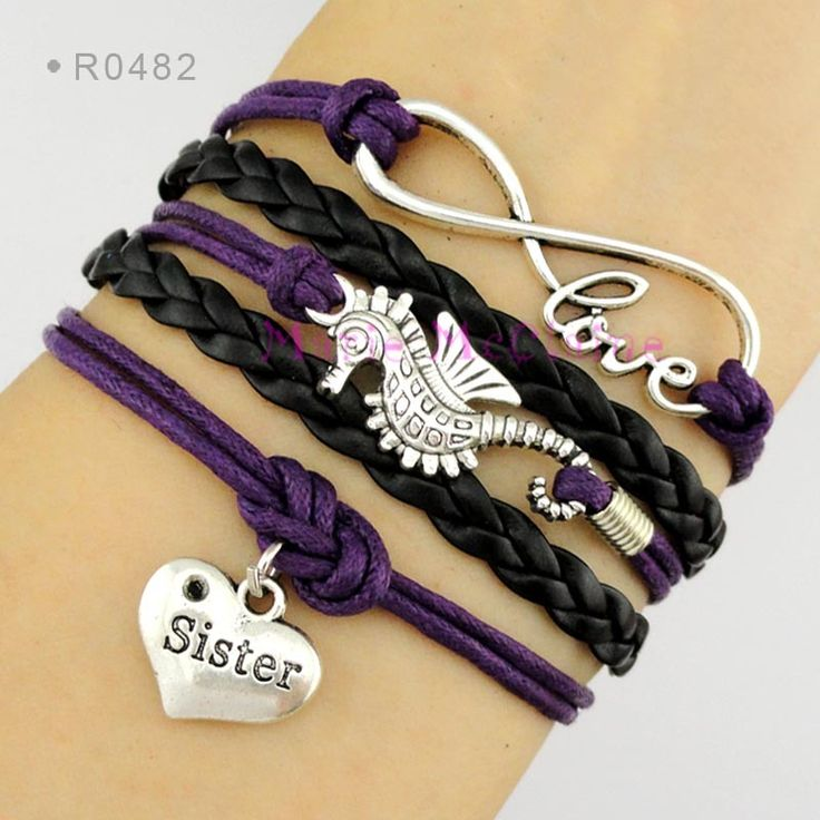 Sister to Infinity and Beyond Seahorse Charm Bracelet Sea Horse Purple Waxed Cotton Cord Black Leather Bracelet - Customizable
