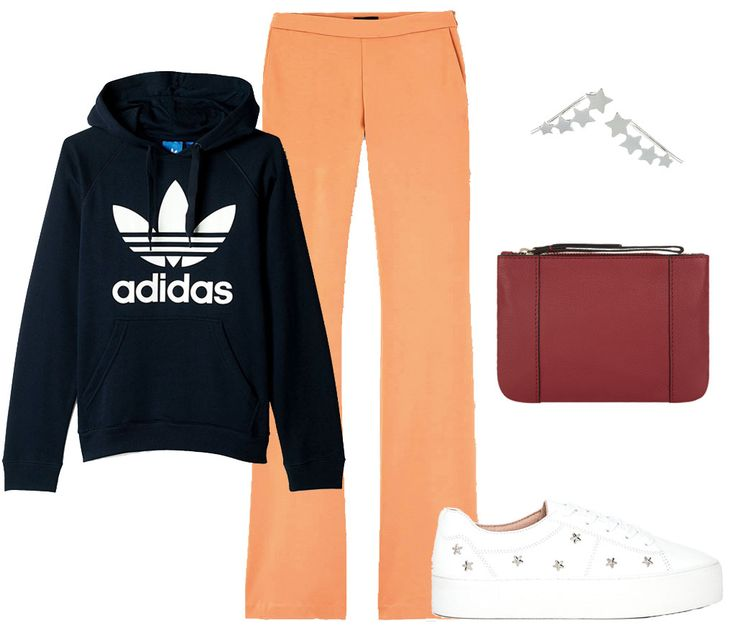3 looks con pantalones campana. Navy graphic hoodie+orange flare pants+white plattform sneakers+burgundy clutch. Spring Casual Outfit 2017