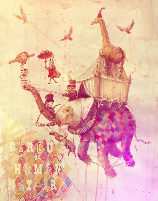 This is a neat instillation of circus, and elements that could be found in the circus. The use of colors feels dreamy and unreal and it is working with the drawing because the elephant is flying which is unreal.