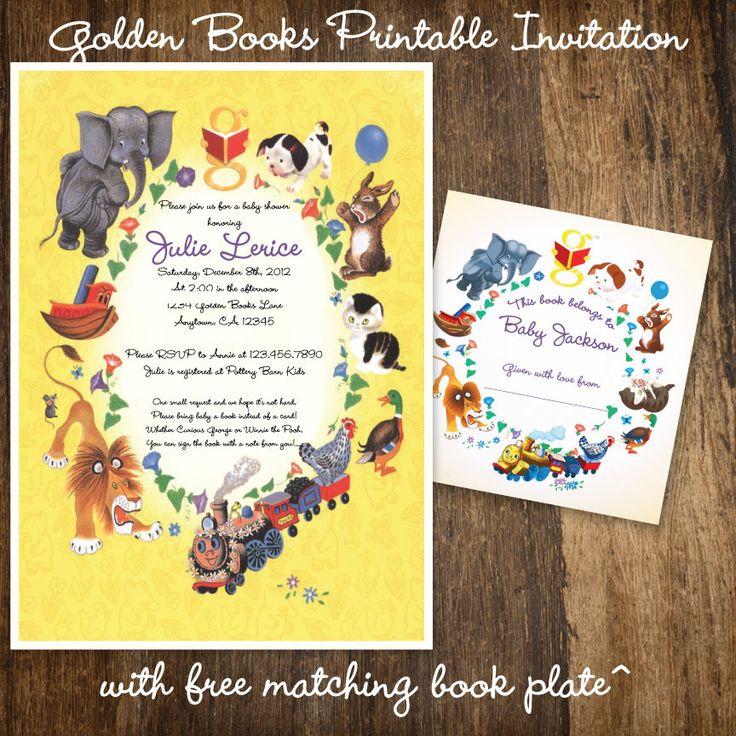 Children's Storybook Birthday Party or Baby Shower Invitation Golden Books Book Shower, via Etsy.com