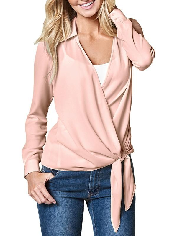 1f24e99fda9a3 Pink blouse outfit for women work vintage design for teens floral cute boho  silk summer Chellysun Women V neck Long Sleeve Tie Knot Casual Blouse blouse  ...