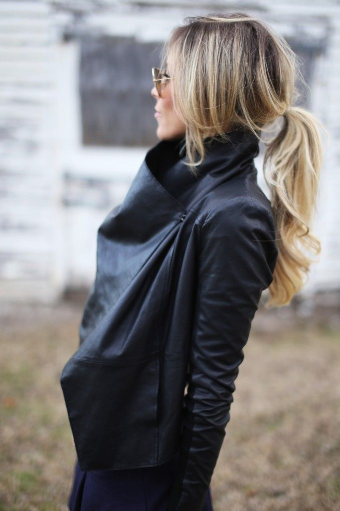Happily Grey - wrap leather jacket. ~ I am starting to realize that every time i find a gorgeous fall outfitjacket look, the hair is equally amazing. Pin for the outfit and the hair :)