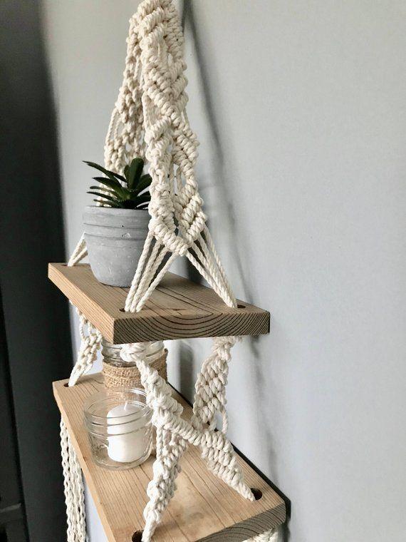 Macrame Double Hanging Shelf // Wooden Hanging Shelf // Boho Style // Macrame Decor // Nautical Decor // Beach House Decor