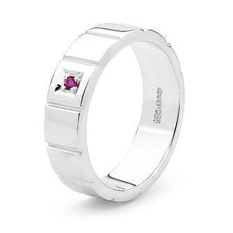 Sterling Silver Gents Ring with Ruby - Size U - BEE-35362U-CR