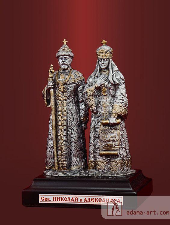 Св. Николай и Александра (056.1t) Чернёное олово Высота композиции: 93 мм Скульптор: Андрей Сычев