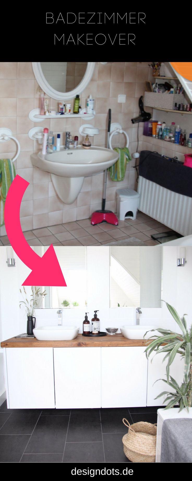 Badezimmer selbst renoveiren: vorher nachher Bilder. Ideen, Inspiraiton und Kosten. Modernes Bad skandinavisches Design. weiß und grau, mit Holz und Pflanzen