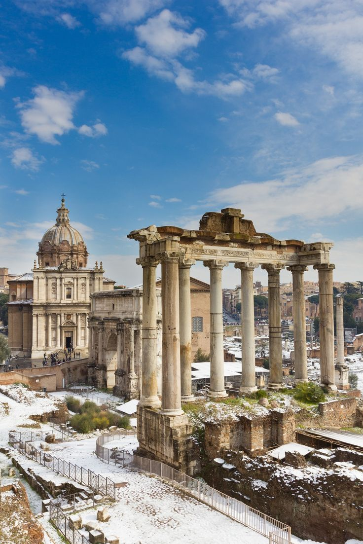 Popular sight in Italy: Temple of Saturn and others monument of the Roman Forum. Check out our #EurailWinterWin contest!