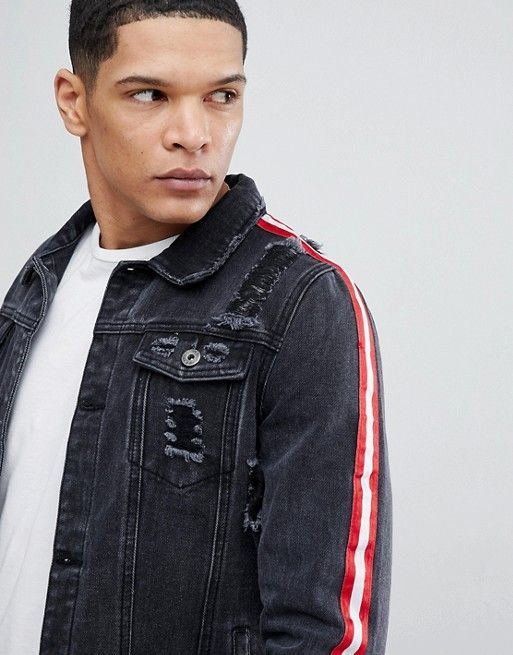 a0be8920d4 Liquor N Poker | Liquor N Poker Black Denim Jacket With Side Stripes and  Rip and Repair
