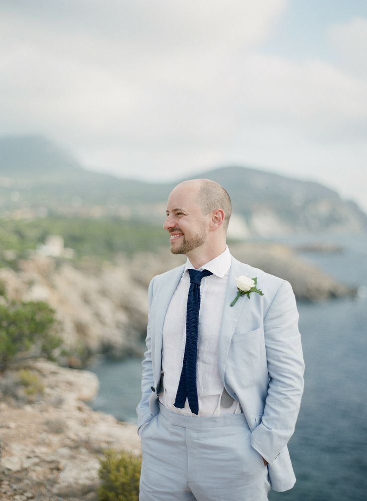 Groom Attire | On SMP: http://www.StyleMePretty.com/2014/02/17/modern-clifftop-ibiza-wedding/ Polly Alexandre Photography