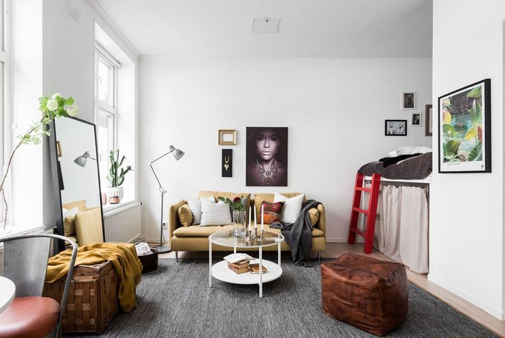 Studio apartment with a raised bed