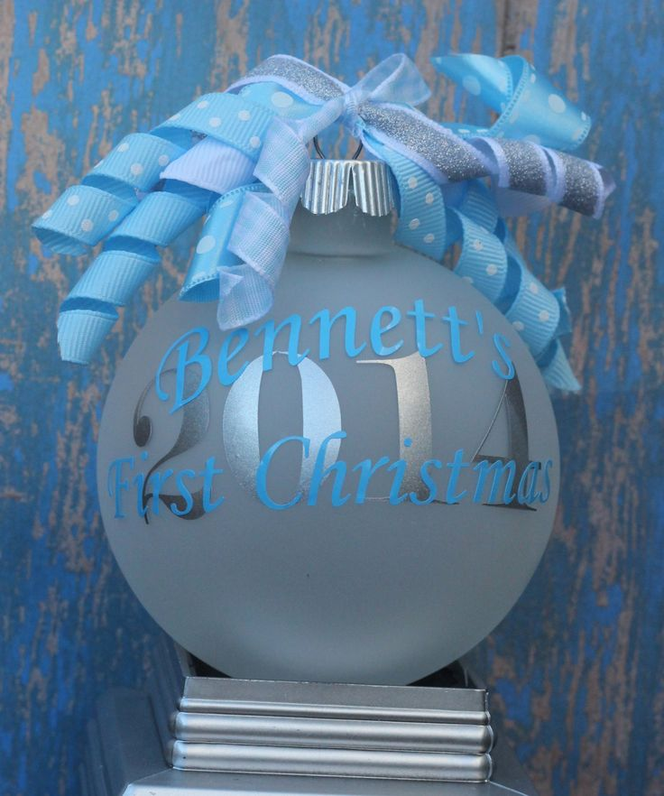 Monogram Baby's First Christmas Ornament Boy Personalized 2014 Christmas Decoration Keepsake by TGNCreations on Etsy https://www.etsy.com/listing/208473285/monogram-babys-first-christmas-ornament