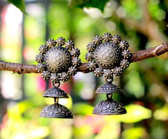 Jhumka,Sterling Silver Oxidised , Dome Shaped Chandelier Earring