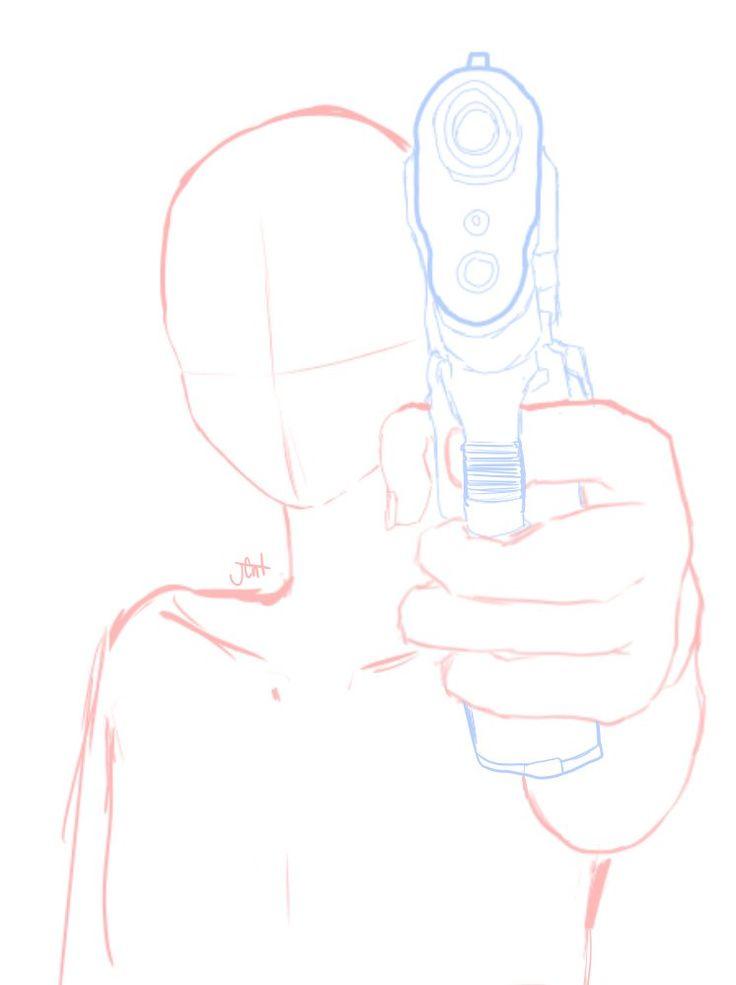 pose de persona agarrando la pistola