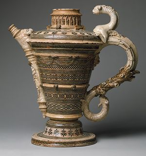 Saint-Porchaire Ewer, ca. 1530–50  French  White earthenware with inlaid clay decoration under a lead glaze