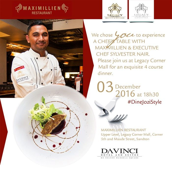 Name: Executive Chef Sylvester Nair Establishment: Maximillien Restaurant DAVINCI Hotel and Suites Sandton #ChefOfTheDay #TopChefs #JoziChefs
