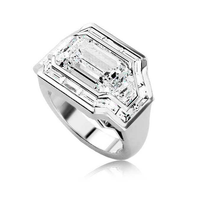 Mandee engagement ring with emerald-cut center stone and baguette and trapezoid-cut accent diamonds in 18k white gold, $65,000; Albritton Day