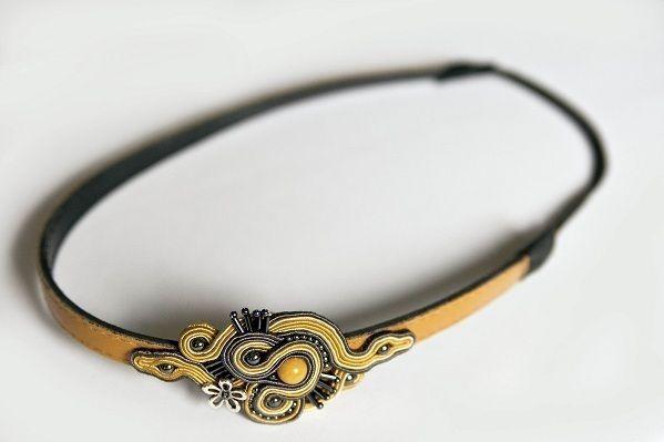 Hand embroidered soutache headband