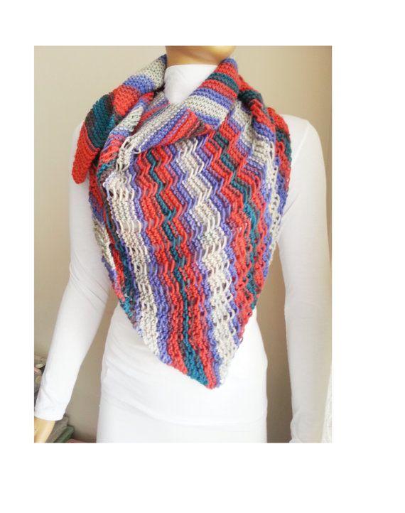 Colorful Triangle Shawl Chunky Knit Shawl Shawl Shrug by NesrinArt