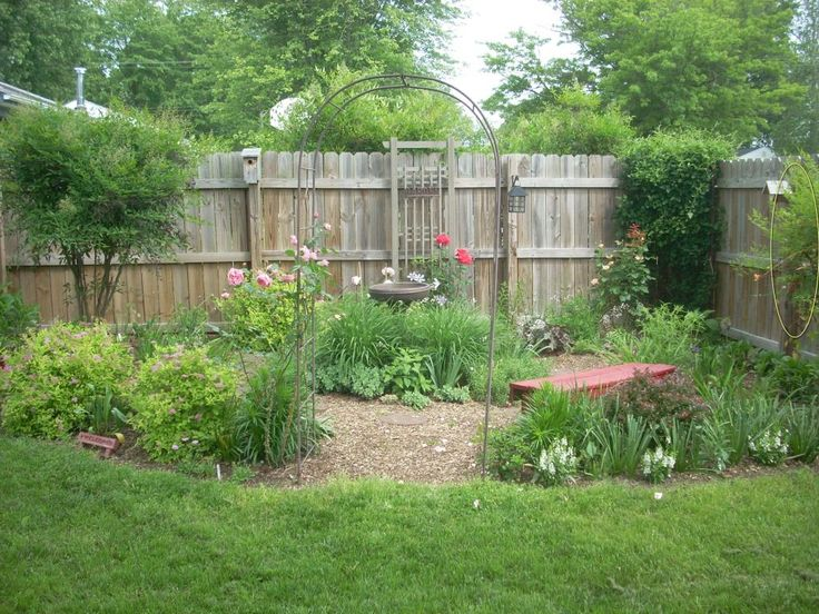Landscape, Small Garden With Red Paint Wood Garden Bench Chair And Rustic  Wood Garden Fence