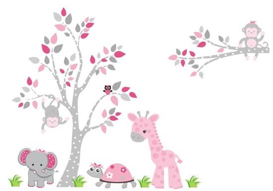 Jungle Animal Wall Decals-Jungle Animal Wall Decal Fabric Stickers, Nursery Wall Decor, Kids Room Decor, Bebe Diva
